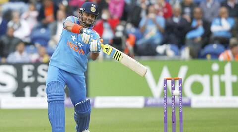 Suresh Raina drives during his match-winning innings against England in Cardiff. (Source: AP)