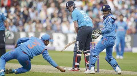 Stokes was brilliantly caught at first slip by Raina off the bowling of Ashwin, who picked up three wickets. Spinners took six out of eight wickets earned by Indian bowlers. (Source: Reuters)