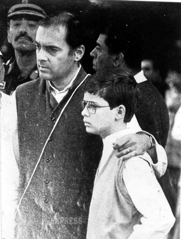 Rajiv Gandhi with his son Rahul Gandhi. (Express archive photo)