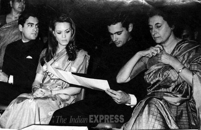 From Left: Rajiv Gandhi with his wife Sonia Gandhi, Sanjay Gandhi and Indira Gandhi. (Express archive photo)