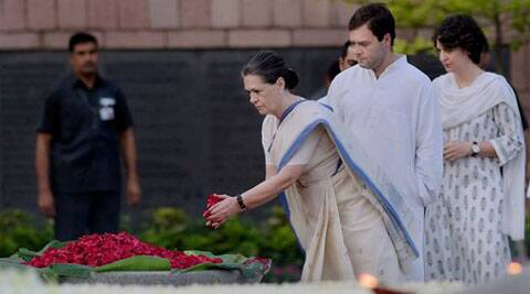 Congress President Sonia Gandhi along with party Vice President Rahul Gandhi and daughter Priyanka Vadra paying tribute to the former Prime Minister Rajiv Gandhi on his 70th birth anniversary at Vir Bhoomi. (Source: PTI)