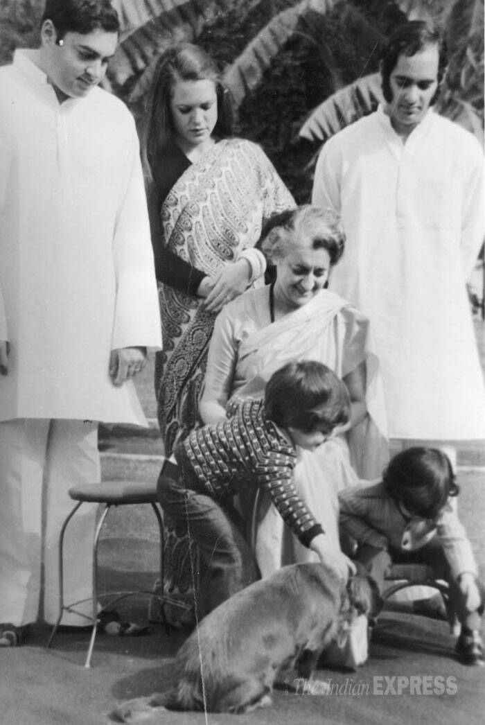 Indira Gandhi along with sons Rajiv Gandhi, Sanjay Gandhi and daughter-in-law Sonia Gandhi with grandchildren Rahul Gandhi and Priyanka Gandhi. (Express archive photo)