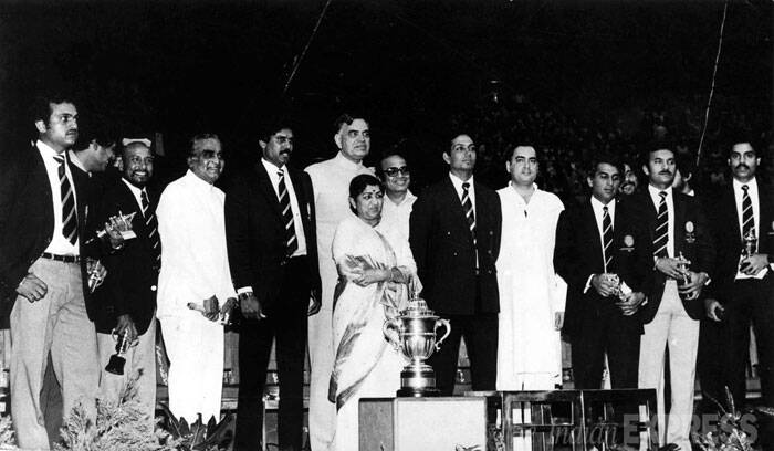 1983 Cricket World Cup winning team meets Rajiv Gandhi. Seen here are, (Left to Right) -Yashpal Sharma,Sayad Kirmani, Kapil Dev, Balram Jakhar, Jagmohan, singer Lata Mangeshkar, Mohinder Amarnath, Rajiv Gandhi, Sunil Gavaskar, K Srikkanth, Madanlal and Dilip Vengsarkar. (Express archive photo)