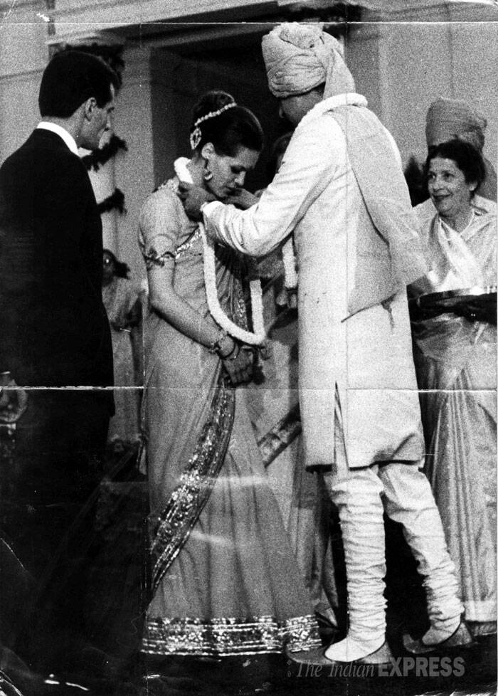 Rajiv Gandhi garlands his bride Sonia Gandhi. (Express archive photo)