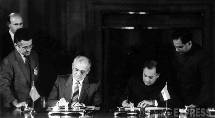 The chairman of the presidium of the Supreme Soviet of the USSR Mikhail Gorbachev and former Prime Minister Rajiv Gandhi are seen signing an agreement for cooperation in the construction of a Nuclear Power Station in India on November 20, 1988. (Express archive photo)