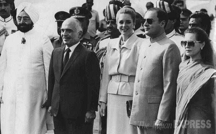 President Giani Zail Singh, Rajiv Gandhi and Sonia Gandhi with King of Jordon Hussein and queen Noor al Hussein at Palam Airport on his arrival. (Express archive photo by S Paul)