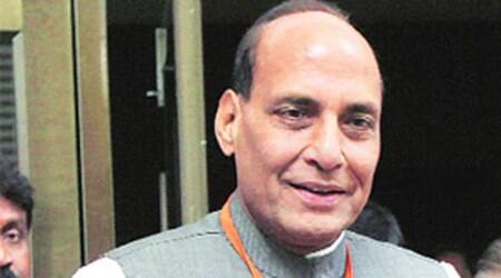 Police had to erect barricades outside Rajnath's house to prevent protestors from entering inside. (File picture)