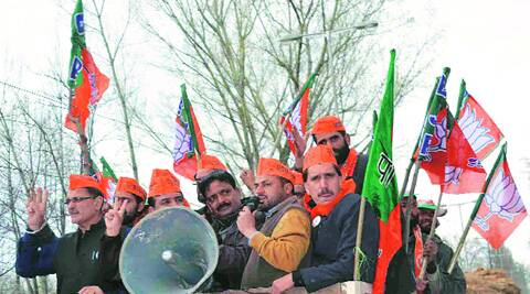 BJP rally in Anantnag during the Lok Sabha polls. (Express photo by Shuaib Masoodi)