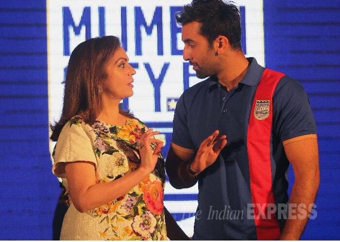 Ranbir and Nita Ambani are engrossed in discussion. (Source: Express photo by Kevin DSouza)