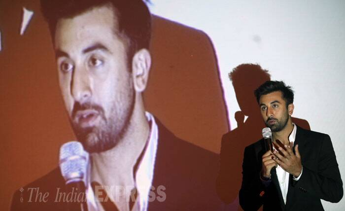 Ranbir Kapoor, who is currently shooting for his next film 'Tamasha', addresses the gathering.  (Source: Express photo by Prashant Nadkar)