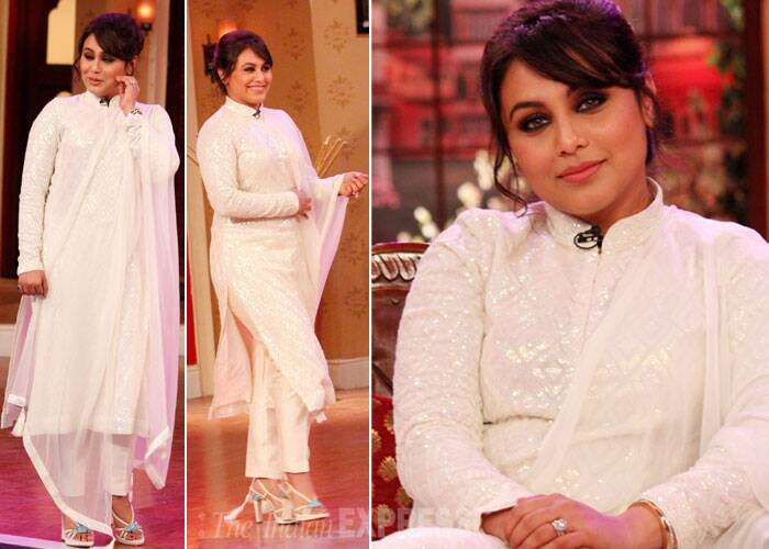 'Mardaani' actress Rani Mukerji appeared on the sets of 'Comedy Nights With Kapil' in an immaculate white Diva'ni creation. She looked nice with just the right amount of make and elegant hair do, except for the sandals, which kind of ruined the look.