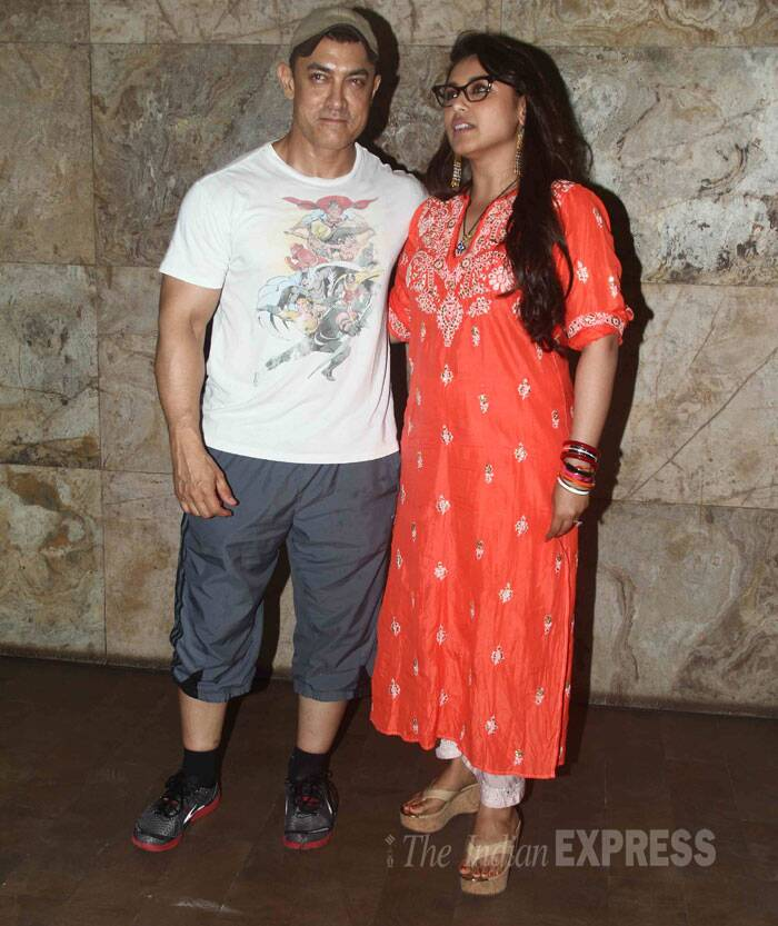 Aamir Khan was casually dressed for the movie outing. Seen here with his favourite Rani. (Source: Varinder Chawla)