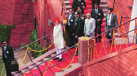 Prime Minister Narendra Modi at Red Fort on Friday. ( Source: Express photo by Neeraj Priyadarshi )