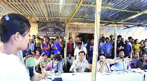 A Centre team visits Reang refugee camps in Kanchanpur on Tuesday. (Source: PTI)