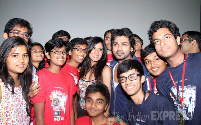Richa and Nikhil get together for a photograph with college students.  (Source: Varinder Chawla)