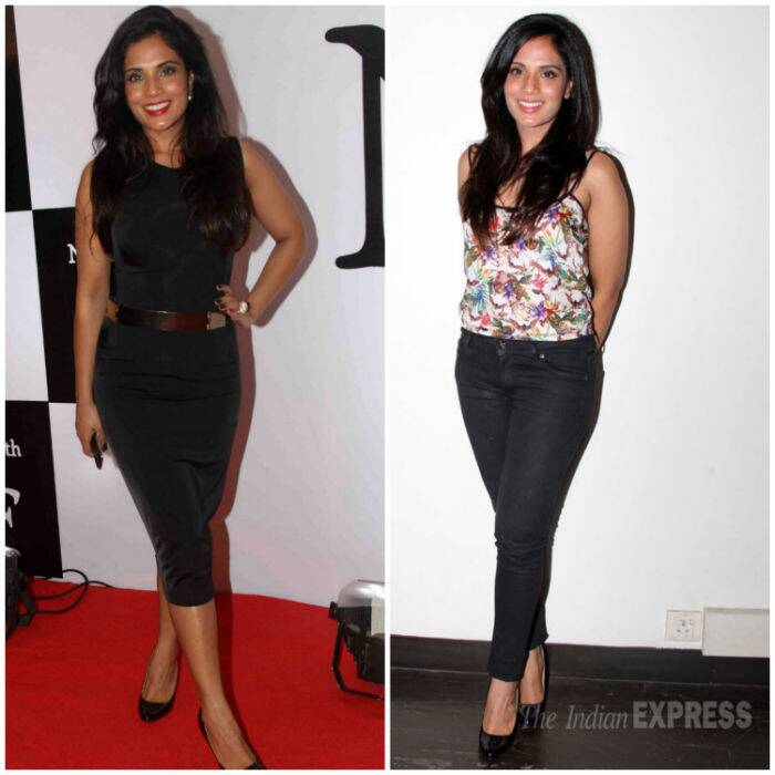Richa Chadda impressed us with two faboulous looks this week. She wore a stylish black midi dress with a metallic belt and matching pumps to a fancy do. While another event saw her in a floral strapped top with fitted black skinnys. (Source: Varinder Chawla)