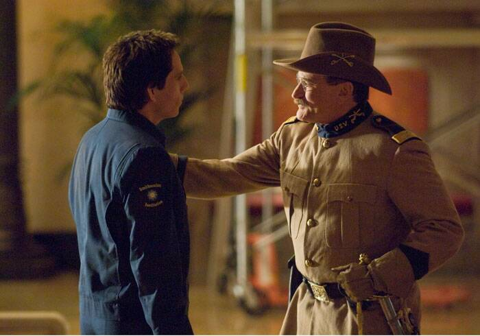 "More recently, Robin Williams appeared in the ""Night at the Museum"" movies, playing President Theodore Roosevelt in the comedies in which Ben Stiller's security guard has to contend with wax figures that come alive and wreak havoc after a museum closes. The third film in the series is in post-production.  (Source: AP)"
