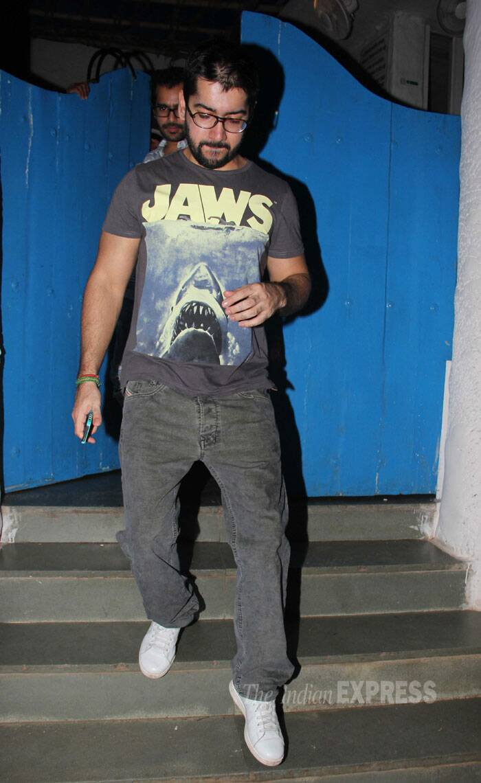 Varun's elder brother Rohit Dhawan comes out after the party. (Source: Varinder Chawla)