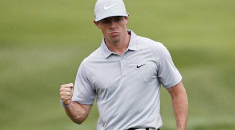 Rory McIlroy celebrates an eagle on the 18th hole during the second round of the PGA Championship golf tournament at Valhalla Golf Club in Louisville. (Source: AP)