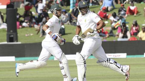South Africa's run-scoring was slow at 2 runs per over as the visitors ground their way in front on a lifeless pitch where batsmen worked hard for their runs. (Source: AP)