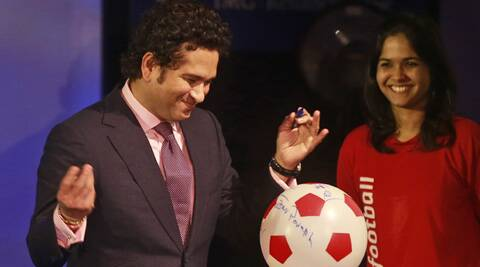 Sachin Tendulkar at the Indian Super League's logo launch in Mumbai on Thursday (Source: AP)