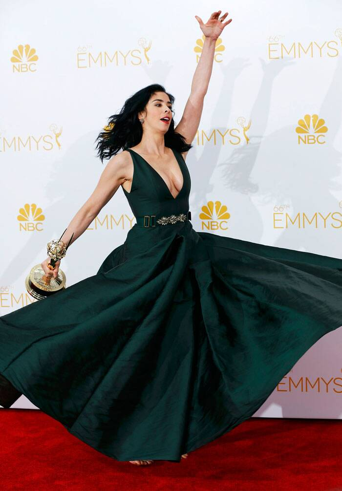 Comedian Sarah Silverman celebrated her win on the red carpet. Sarah was awarded the Emmy for Outstanding Writing for a Variety Special award for HBO's 'Sarah Silverman: We Are Miracles.' (Source: Reuters)