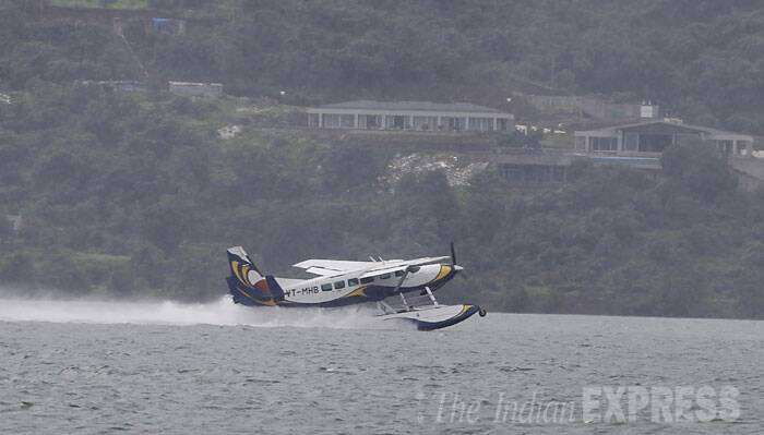 Seaplane takes off. (Source: Express photo by Pavan Khengre)