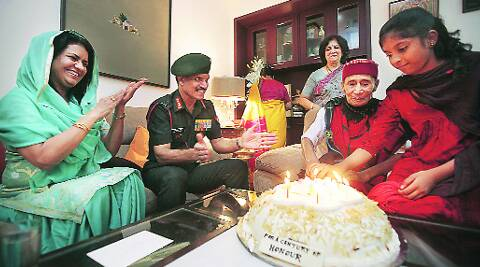 Army chief General Dalbir Singh, his wife with Brigadier D M Sen on Wednesday.(Expressphoto by Amit Mehra)