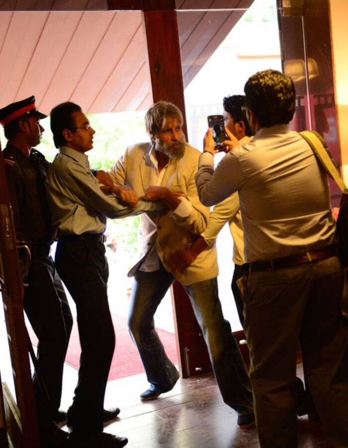The actor, who has just wrapped up the film's shoot, also shared a picture from shooting some kind of altercation scene for 'Shamitabh'. (Source: Amitabh Bachchan's blog)