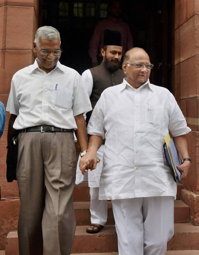 NCP chief Sharad Pawar and CPI member D Raja at Parliament House in New Delhi on Tuesday during the budget session. (Source: PTI)