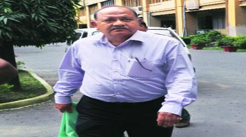 Rajat Majumdar, former DG of armed police, outside CBI office at Salt Lake, in Kolkata on Saturday.(Express Photo)