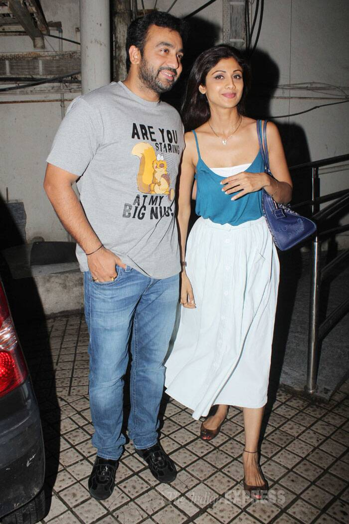 Meanwhile, Shilpa Shetty and hubby Raj Kundra were clicked after heading out after watching a movie show at PVR. (Source: Varinder Chawla)