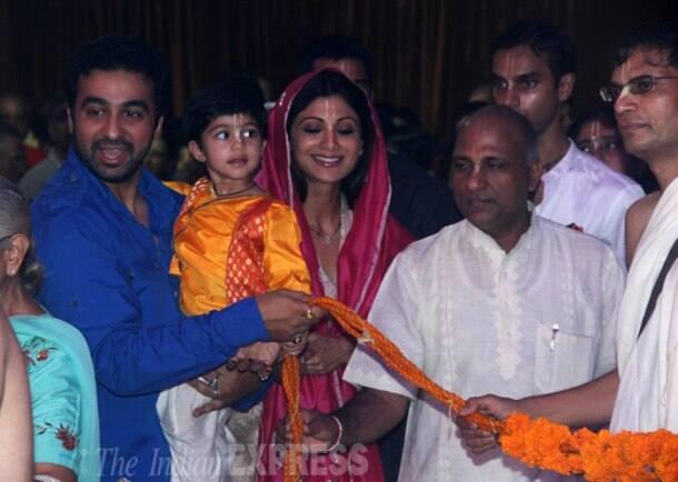 Shilpa Shetty, Raj Kundra celebrate Janmashtami with son Viaan