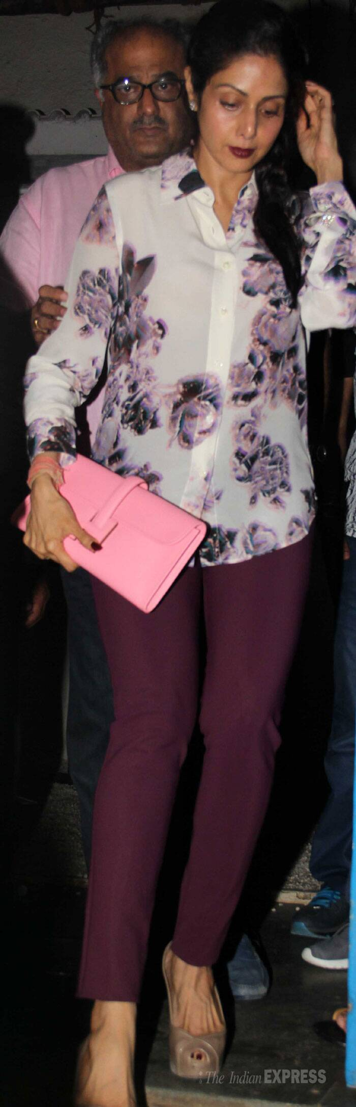 'English Vinglish' actress Sridevi was spotted in Maison Martin Margiela floral shirt with berry lips and berry colour pants. She finished her look with a pink Hermès Jigé clutch and taupe slingbacks. (Source: Varinder Chawla)
