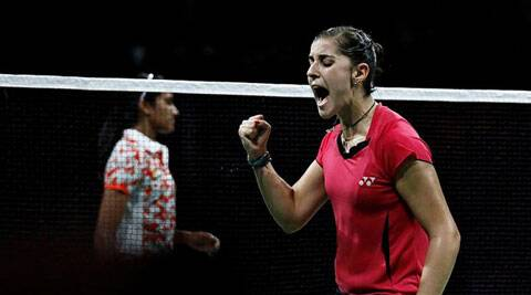 Spain's Carolina Marin Celebrates her victory over India's P. V. Sindhu on Saturday in Copenhagen. (Source: AP)
