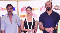 Actors Ajay Devgn, Kareena Kapoor Khan and director Rohit Shetty at the Maharashtra Tourism event