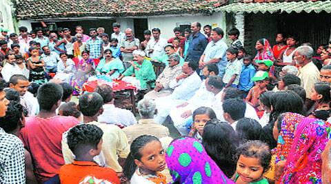 Bihar Education Minister Brishan Patel at a meeting with the EBC community in Hariharpur village.