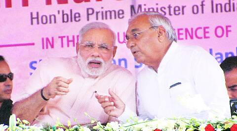 Modi and Hooda in Kaithal on Tuesday.