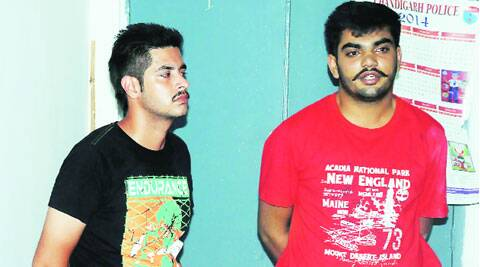 The two LPU students in police custody. ( Source: Express photo )