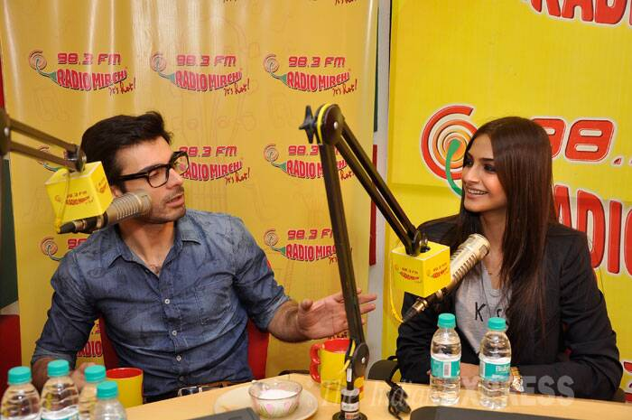 Lead actors of forthcoming rom-com 'Khoobsurat', Sonam Kapoor and Fawad Afzal Khan turned RJs for a day as they promoted their film at a radio station in Mumbai. (Source: Varinder Chawla)
