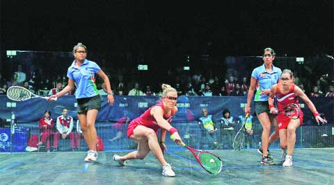 Dipika Pallikal and Joshana Chinappa brought unbridled aggression on the show glass courts for doubles in beating Jenny Duncalf and Laura Massaro 11-6, 11-8. (Source: PTI)