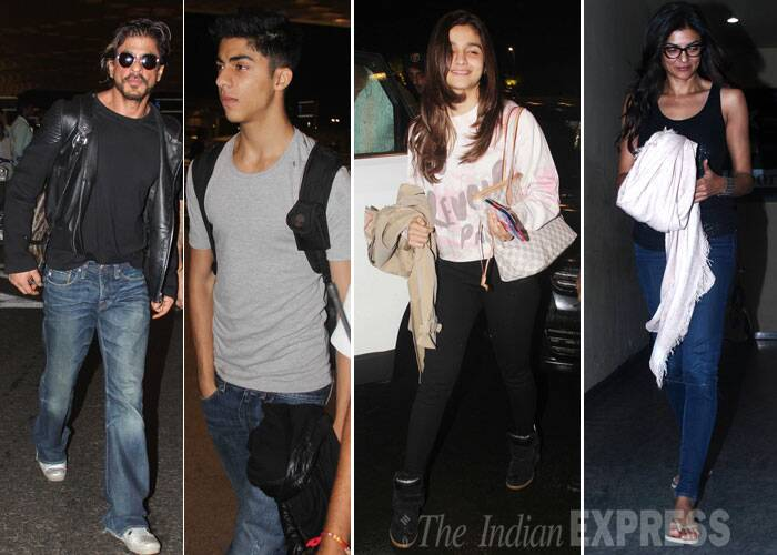 Bollywood superstar Shah Rukh Khan was spotted along with his Aryan at the Mumbai airport. SRK's son Aryan studies in London. <br /><br /> Actress Alia Bhatt was also seen jetting off somewhere, while Sushmita Sen enjoyed a movie night. (Source: Varinder Chawla)