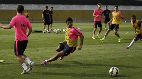 Luis Suarez during a training session