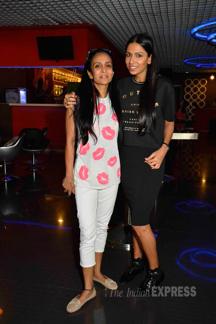 Actress Suchitra Pillai wore a lipstick print top as she got together with model Candice Pinto. (Source: Varinder Chawla)