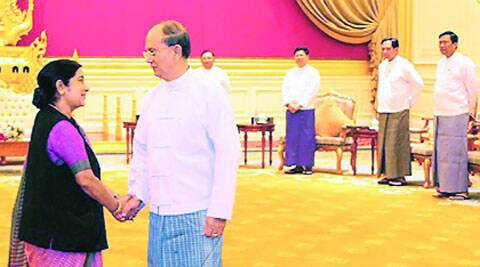 Swaraj with Thein Sein in Nay Pyi Taw Monday. (PTI)