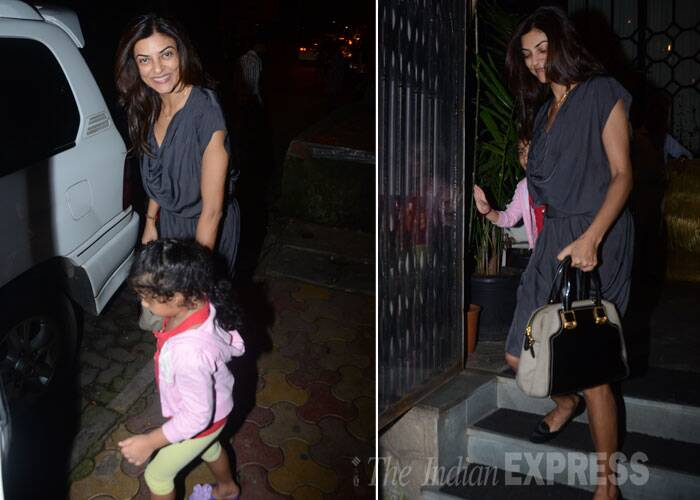 While, Sushmita Sen held on to younger daughter Alishah's hand as they left a restaurant in Mumbai on Sunday. (Source: Varinder Chawla)