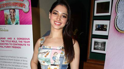 Actress Tamannaah Bhatia said her next project 'Entertainment' is not just slapstick comedy but also a brainy film and can be watched with family members.