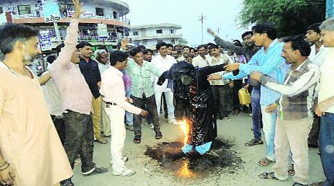 VHP supporters burn an effigy of Teesta Setalvad in Bhavnagar on Saturday. ( Source: Express photo )