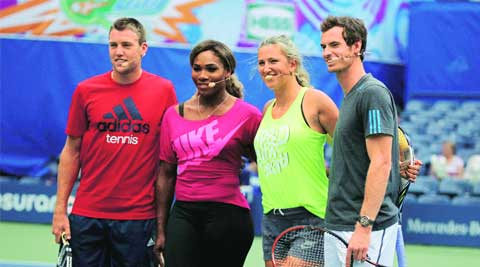 from left: Jack Sock, Serena Williams, Victoria Azarenka and Andy Murray at the US Open Arthur Ashe Kids Day at the USTA Billie Jean King National Tennis Centre, in New York. ( Source: AP )