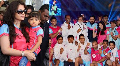 Aaradhya cheers for dad Abhishek Bachchan's kabaddi team with mom Aishwarya